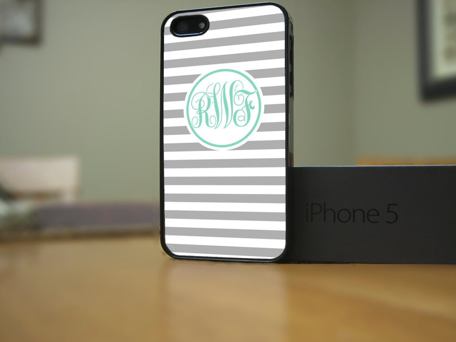 Monogrammed Gray Stripes and Teal Monogram, Phone Case, pyaonline