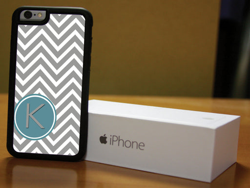 Monogrammed Gray and White Chevron Print, Phone Case, pyaonline