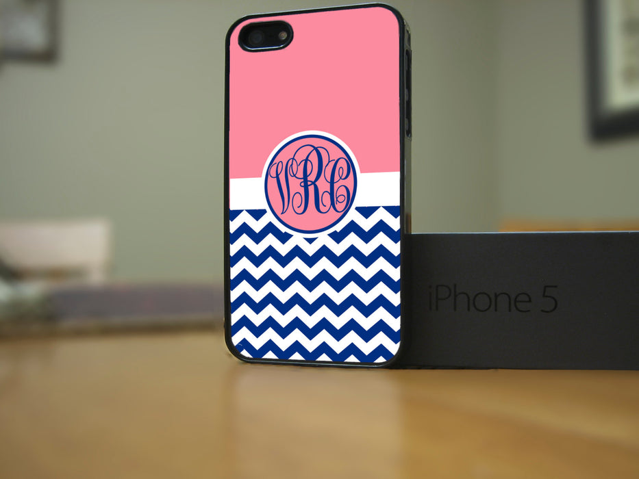 Monogrammed Pink and Navy Chevron Print, Phone Case, pyaonline