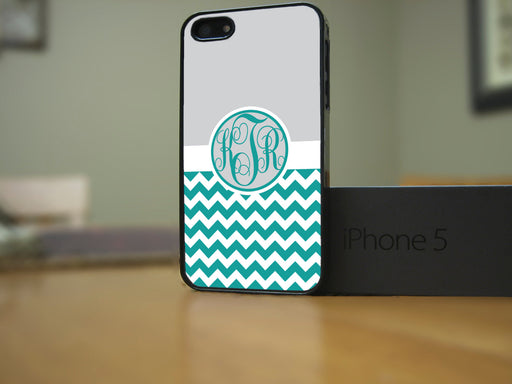Monogrammed Teal Chevron Print and Gray upper, Phone Case, Personally Yours Accessories