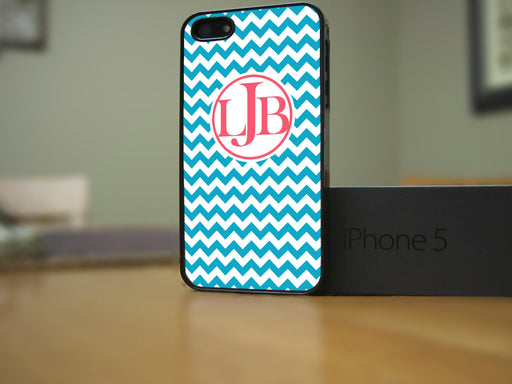 Monogrammed Turquoise and Coral Chevron Print, Phone Case, Personally Yours Accessories