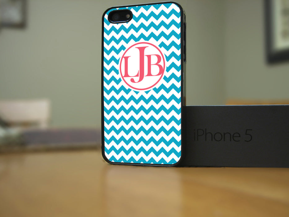 Monogrammed Turquoise and Coral Chevron Print, Phone Case, pyaonline
