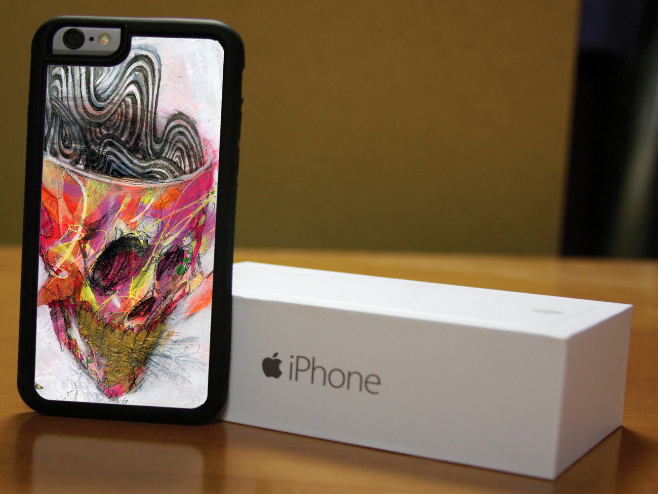 Artistic Skull with Brain Waves, Phone Case, pyaonline
