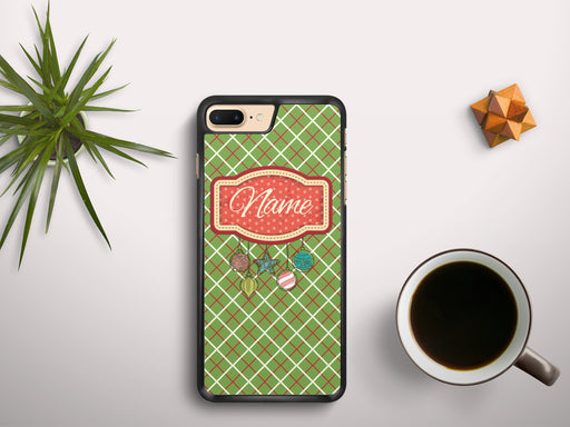 Monogrammed Christmas Plaid with a Present Tag Name Banner, Phone Case, Personally Yours Accessories