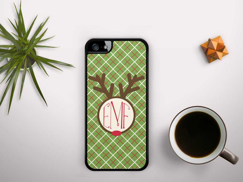 Monogrammed Christmas Plaid with a Rudolph Reindeer Badge, Phone Case, pyaonline
