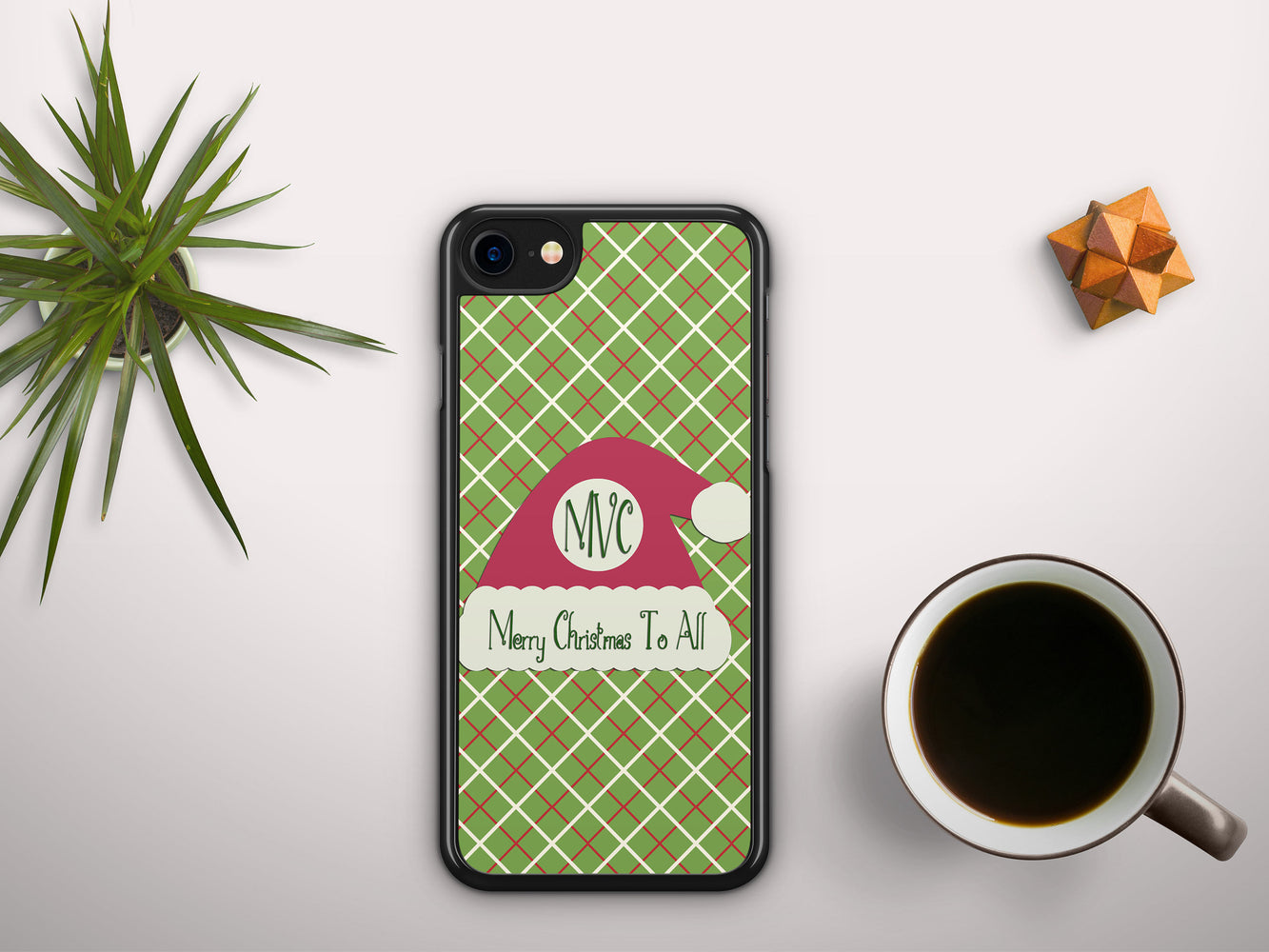 Monogrammed Christmas Plaid with a Santa Hat Name Badge, Phone Case, pyaonline