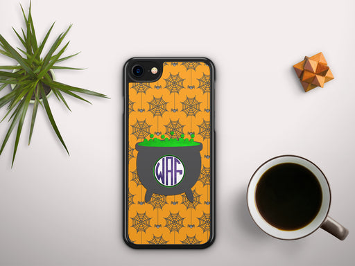 Monogrammed Spiders and Witches Cauldron Monogram Badge, Phone Case, Personally Yours Accessories