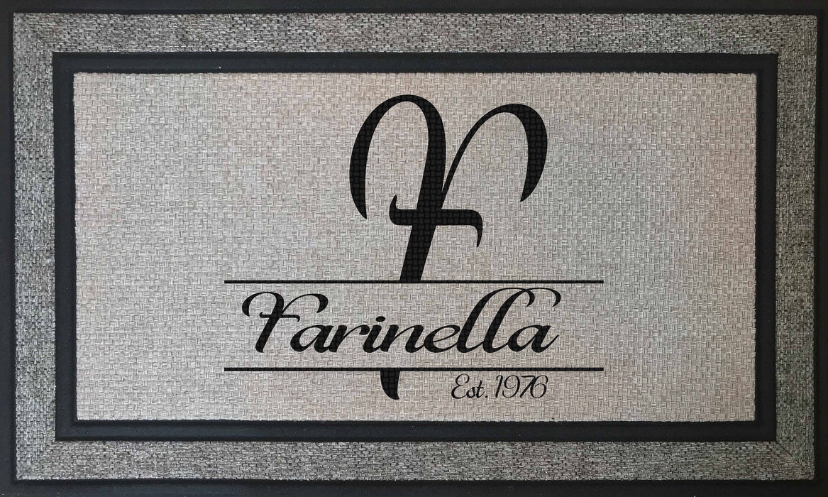 "Elegant and Durable - Personalized Monogrammed 18"" x 30"" Rubber Backing Border Door Mat, Custom Door Mats make the Perfect Housewarming Gift, Home Decor, pyaonline"