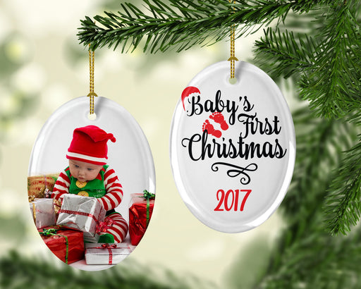 Custom Photo and Personalized Oval Christmas Ornament and Decorations, Christmas, pyaonline
