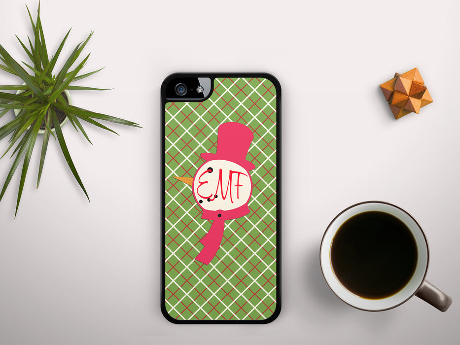 Monogrammed Christmas Plaid with a Snowman Name Badge, Phone Case, pyaonline