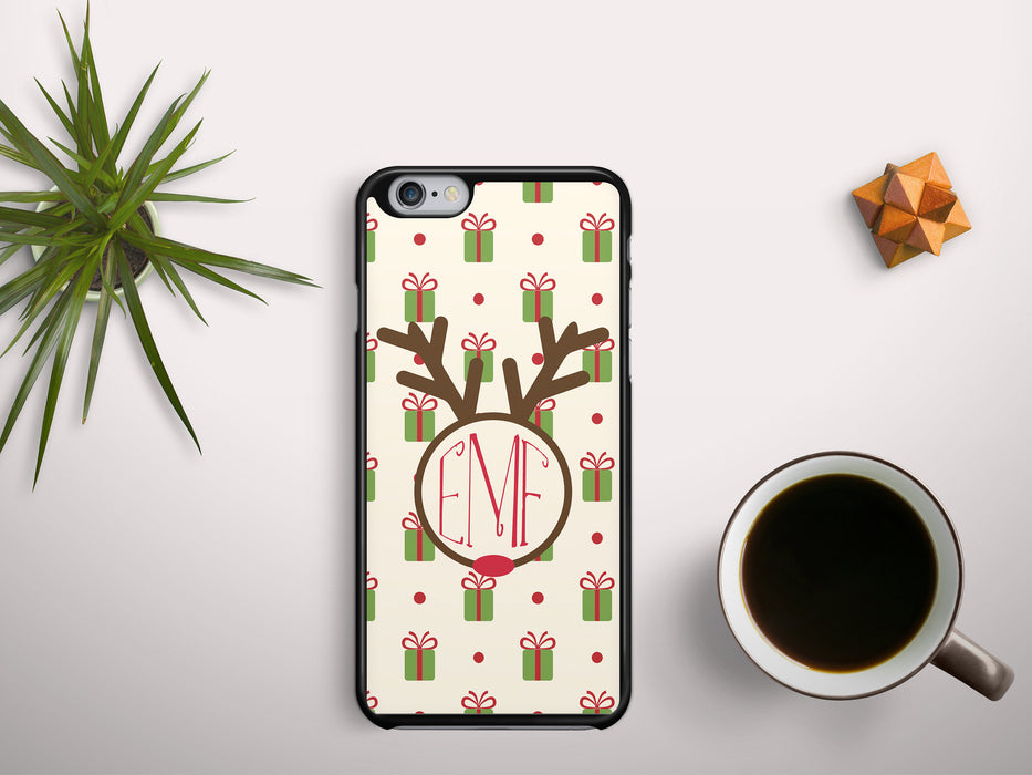 Monogrammed Christmas Wrap with a Rudolph Name Badge, Phone Case, Personally Yours Accessories