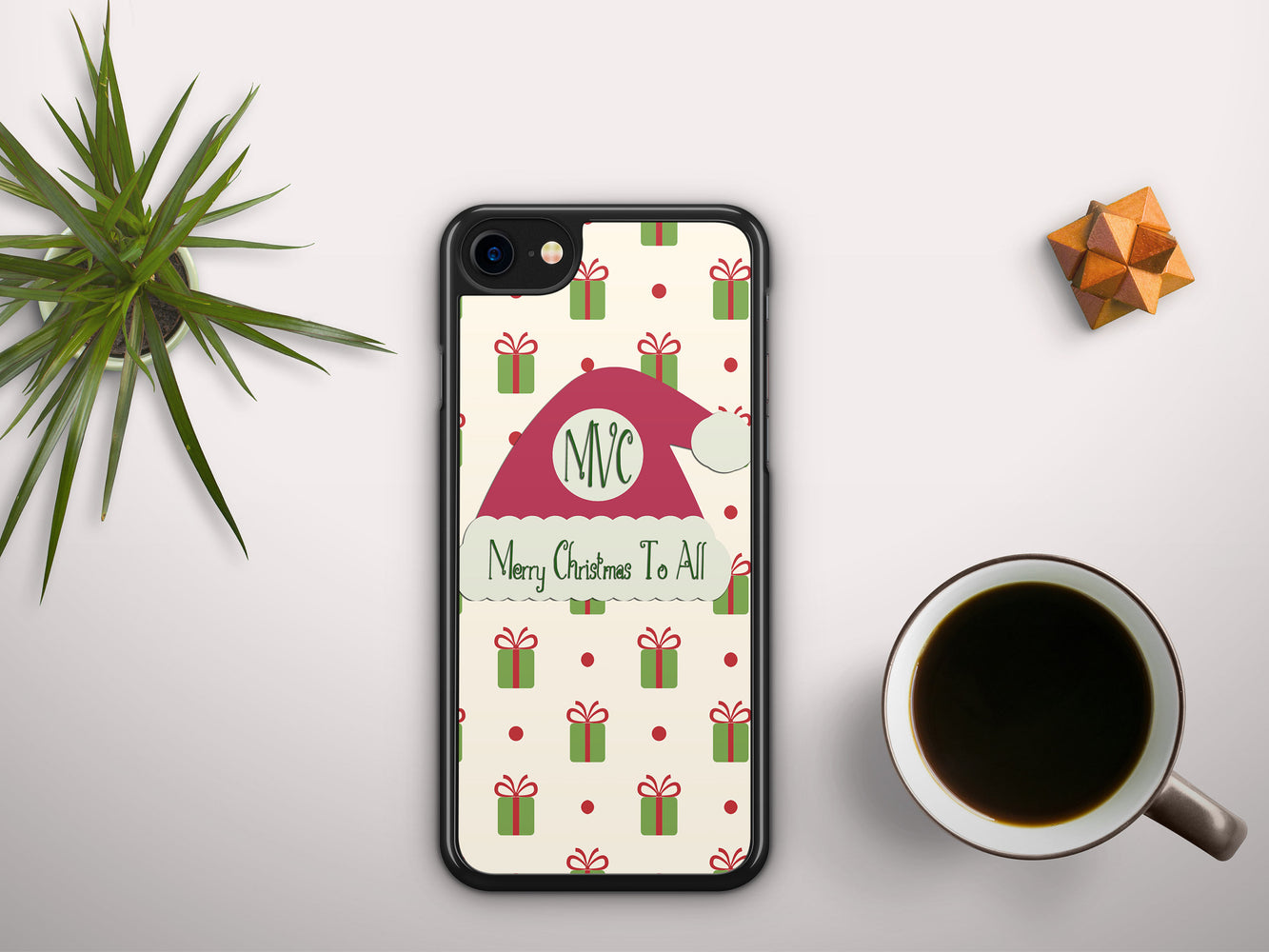 Monogrammed Christmas Wrap with a Santa Hat Name Badge, Phone Case, pyaonline