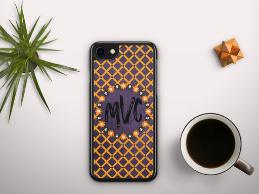 Monogrammed Purple and Orange Crosshatch Halloween Skull Monogram Badge, Phone Case, Personally Yours Accessories