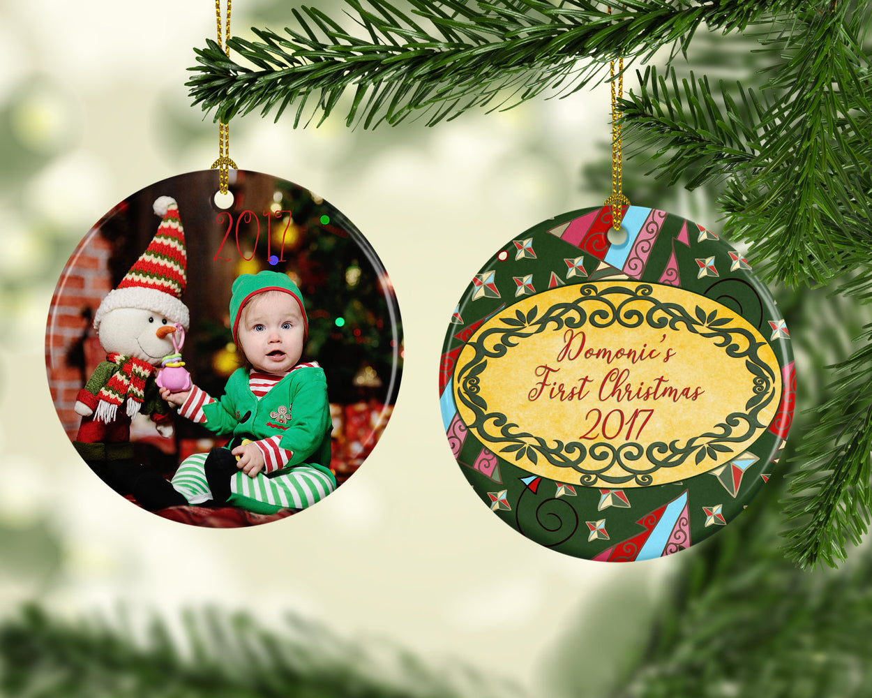 Custom Photo and Personalized Round Christmas Ornament and Decorations, Christmas, pyaonline