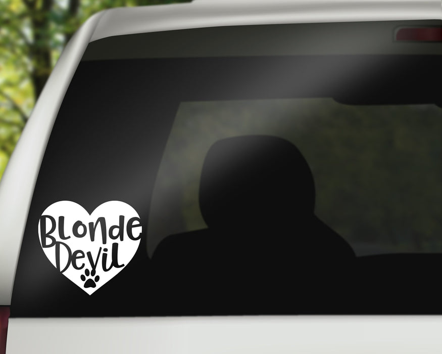 Blonde Devil Heart Decal, Car Decals, Personally Yours Accessories