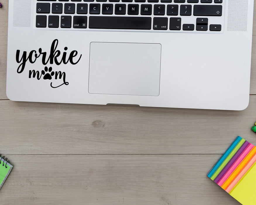 Yorkie Mom | Decal with Adhesive for use on car Window or Wall using Premium Vinyl up to 11 Inches