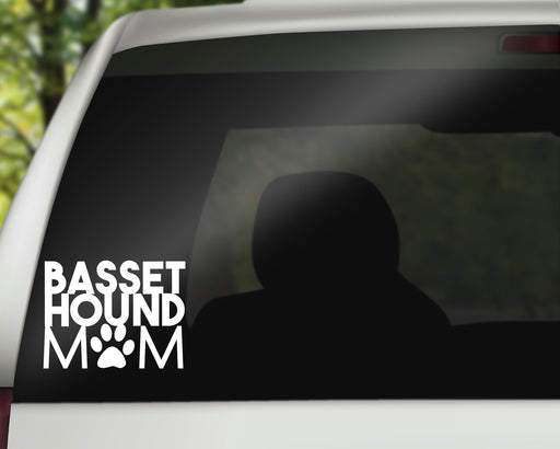 Basset Hound Mom Decal, Car Decals, pyaonline