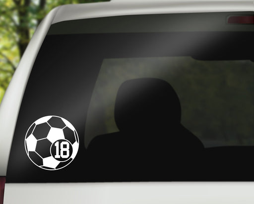 Soccer Ball Jersey Number Decal with Adhesive for use on car Window or Wall using Premium Vinyl up to 11 Inches