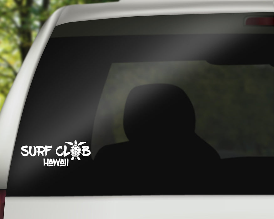 Surf Club Hawaii -  Decal/Sticker with Adhesive for use on car Window or Wall using Premium Vinyl up to 11 Inches