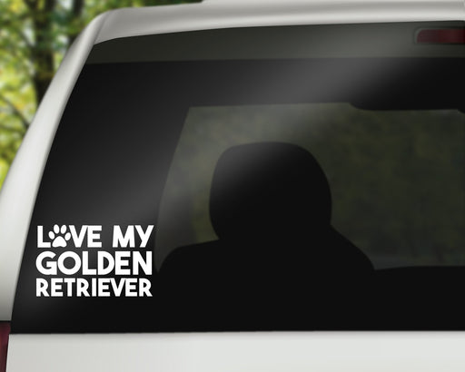 Love my Golden Retriever Decal, Car Decals, pyaonline