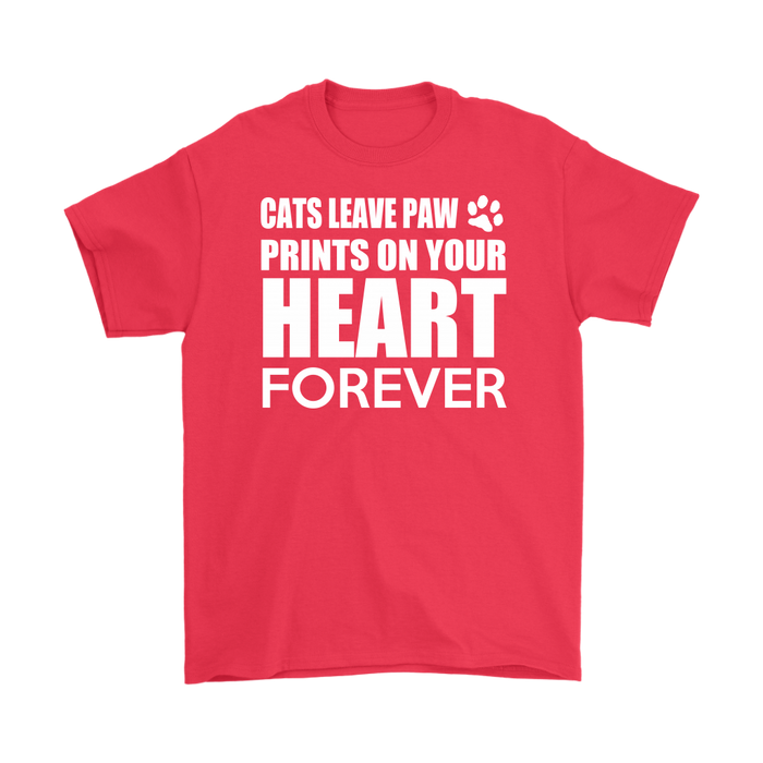 CAT LEAVES PAW PRINTS ON YOUR HEART FOREVER – Gildan Men's T-Shirt, T-shirt, Personally Yours Accessories