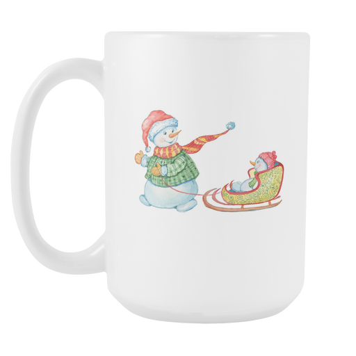 White 15oz Mug - Christmas - Snowman Sledding, Drinkware, Personally Yours Accessories