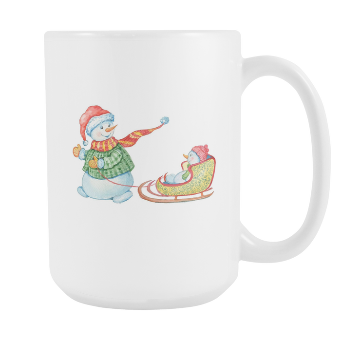 White 15oz Mug - Christmas - Snowman Sledding