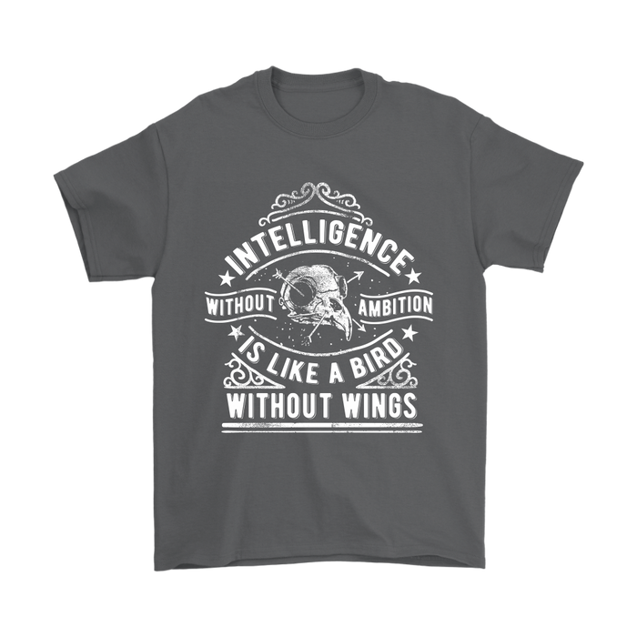 Gildan Mens T-Shirt - Intelligence Without Ambition is Like a Bird Without Wings, T-shirt, pyaonline