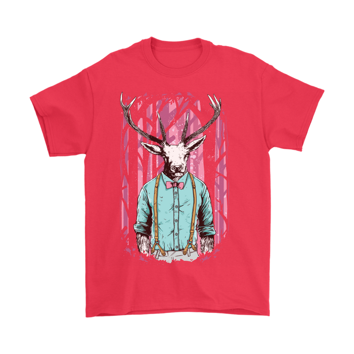 Gildan Mens T-Shirt - Dressed up Deer in the Woods, T-shirt, pyaonline