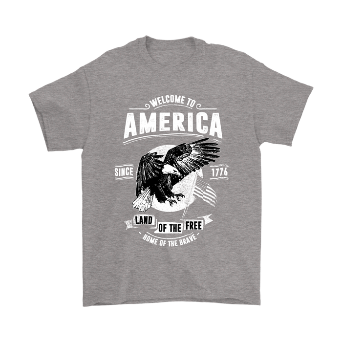Gildan Mens T-Shirt - Welcome to America - Land of the Free - Home of the Brave, T-shirt, pyaonline