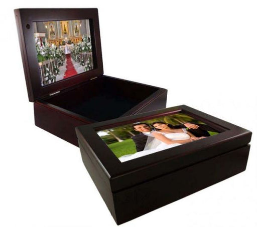 "6"" x 8"" Mahogany Keepsake Box with Two Sided 5"" x 7"" Custom Photo, Keepsakes, Personally Yours Accessories"