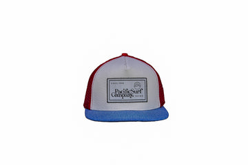 MESH HAT / WHITE, BLUE, + RED