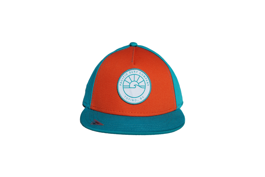KIDS FIT / SUN PATCH HAT / TEAL & RUST
