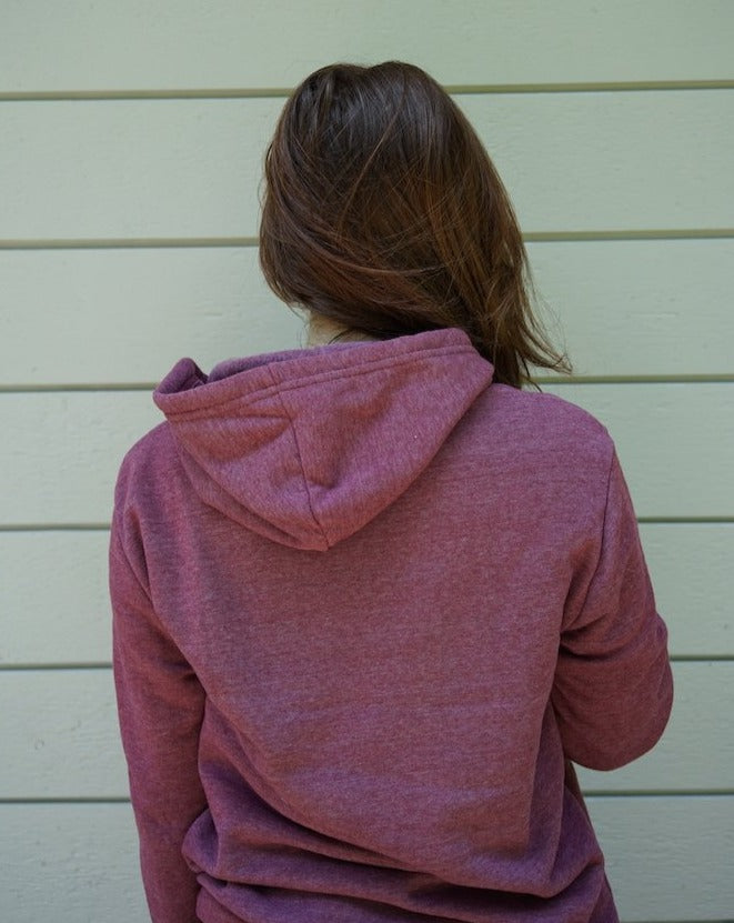 Post Code Fleece Hoodie in Currant