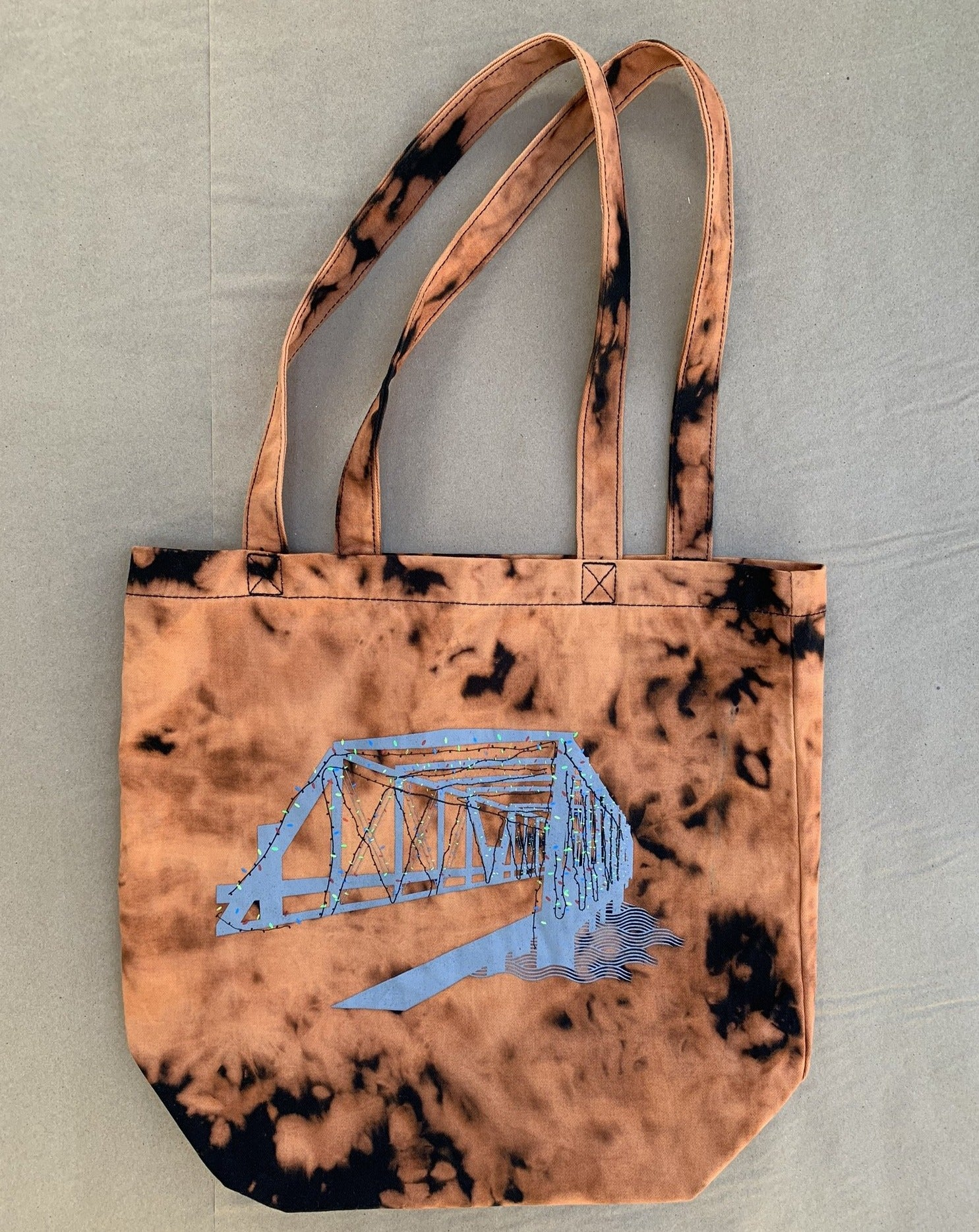 Tie Dye Saugatuck Lights Large Tote