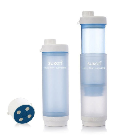 Sukori Portable Water Filter Bottle * Bpa-free 470ml * Latest AG+ Activated Carbon filter* 400 uses*Reddot, NSF & SGS Awards *Removes Chlorine & Flouride (BLUE)