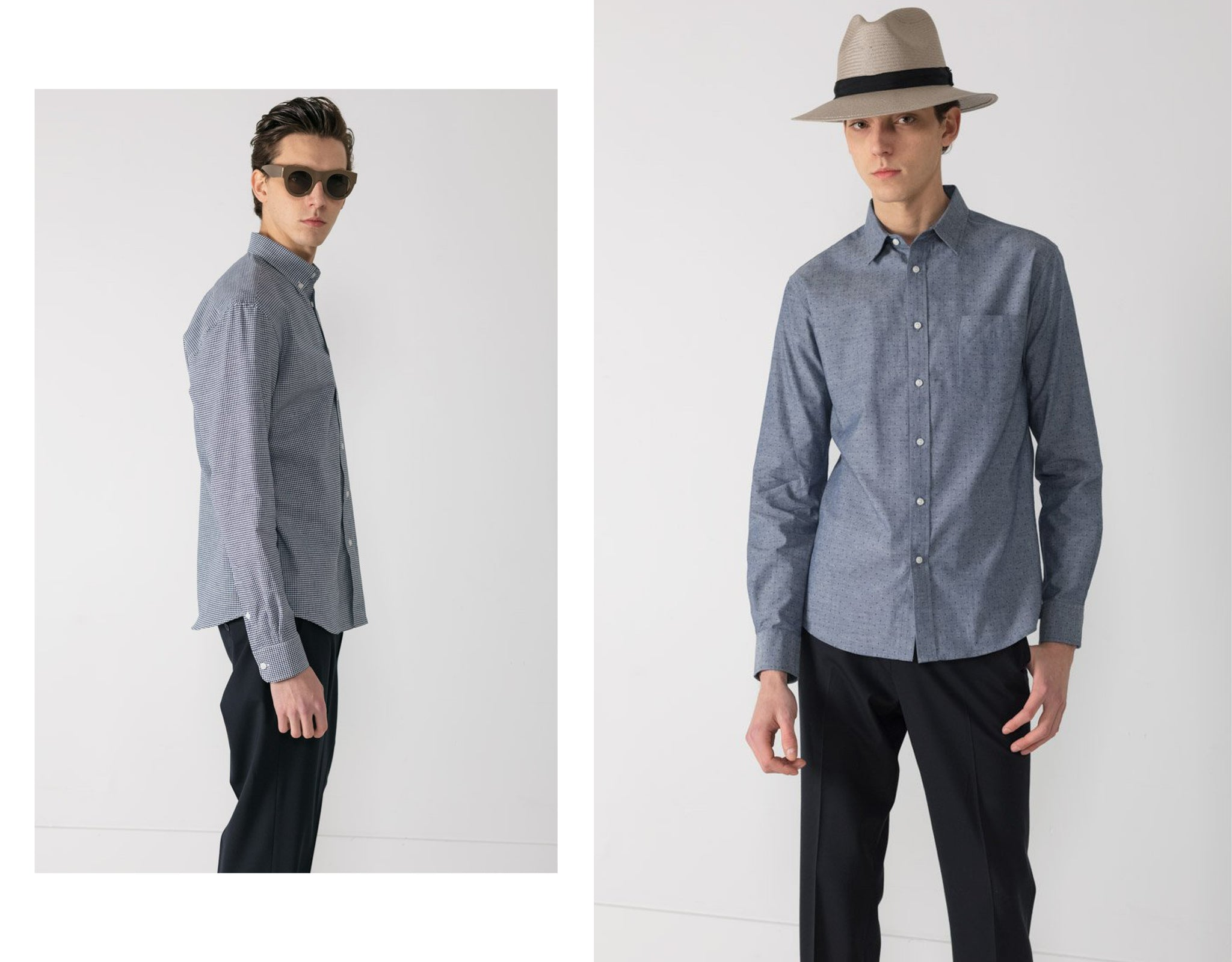 National Standards slim fitting long sleeve shirts on male model wearing glasses beside same in grey fedora
