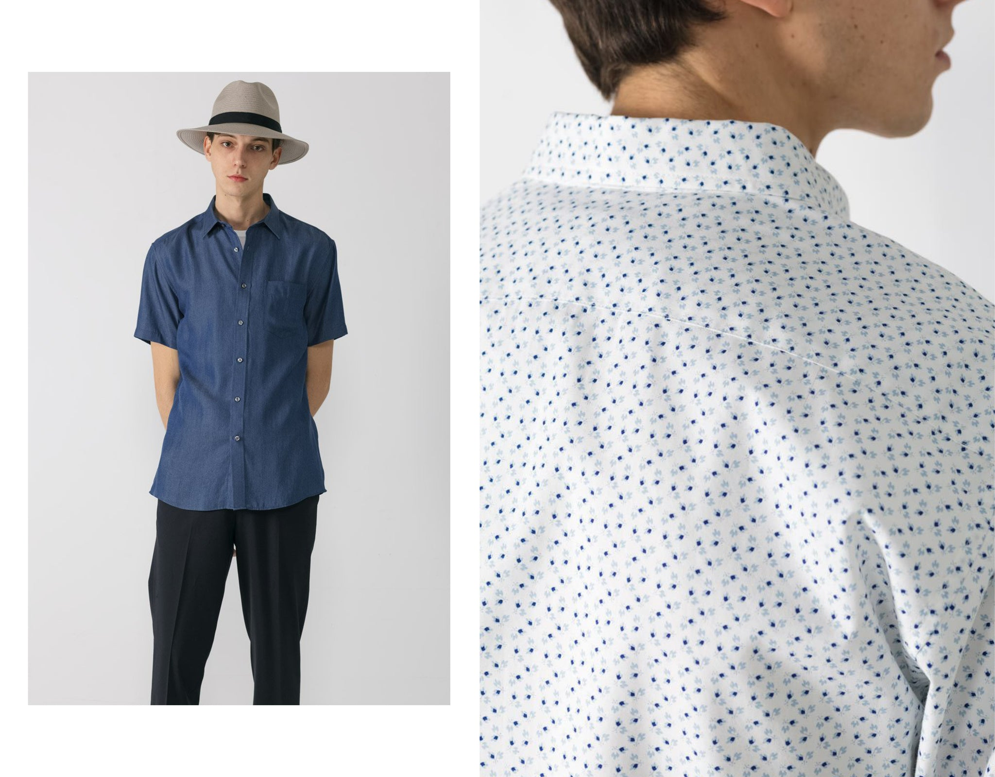 Tencel short sleeve Blue on model in straw hat. feat beside back detail of Mini Floral print shirt