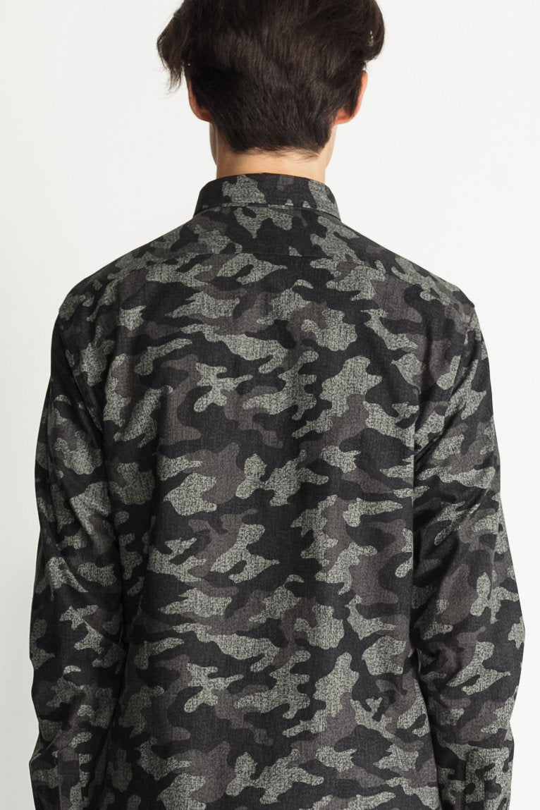Japanese Camouflage Print in Grey 03