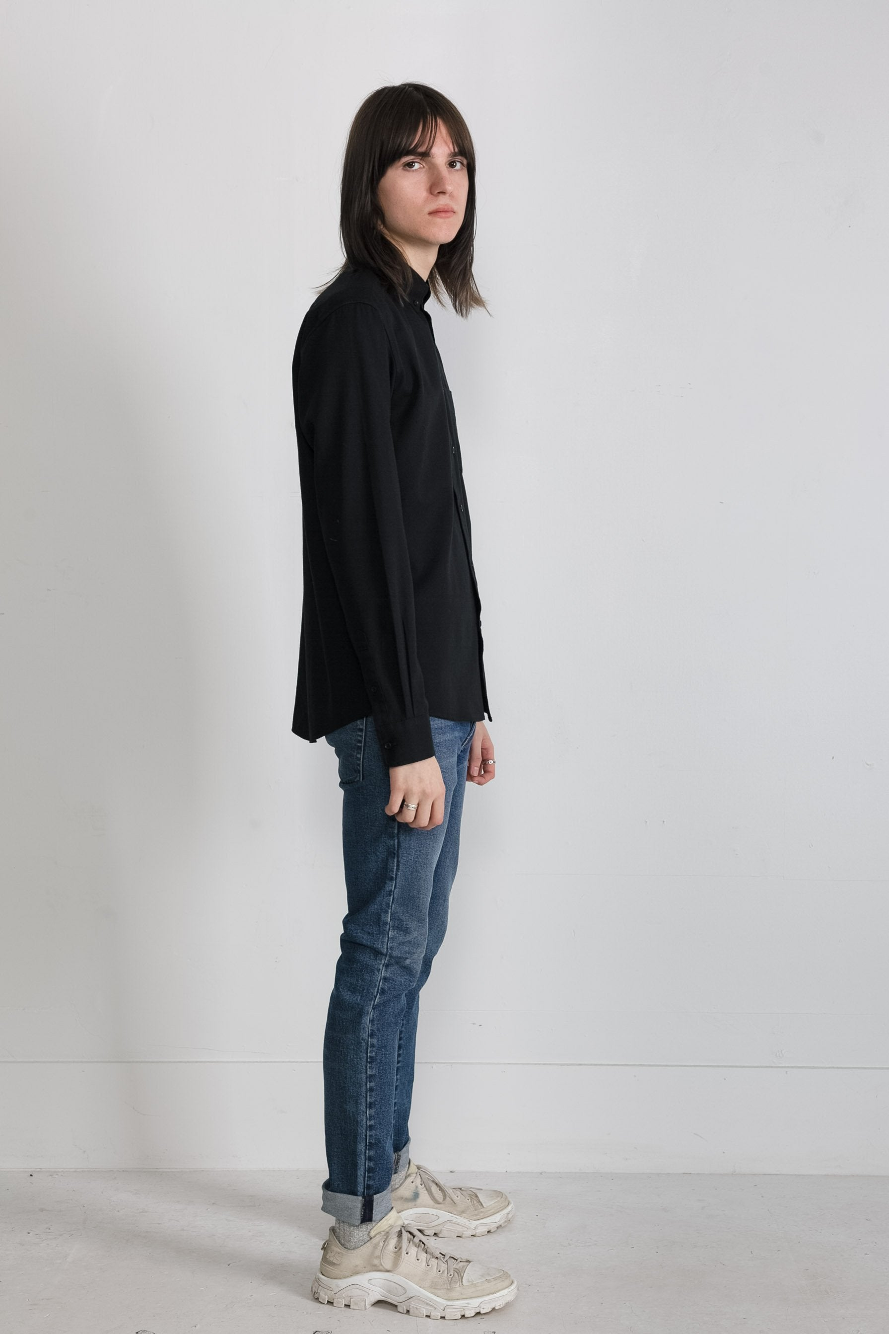 Japanese Washed Oxford in Black NS1030-170 Slim Fit 003