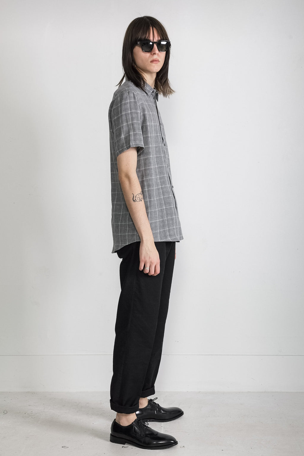 Japanese Double Face Plaid in Grey 004