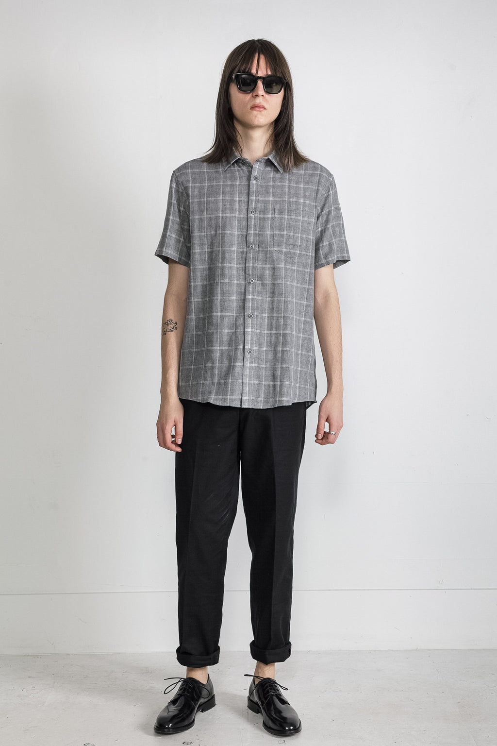 Japanese Double Face Plaid in Grey 005
