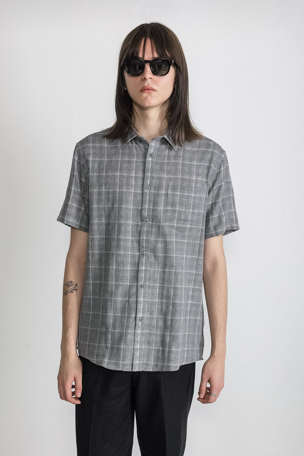 Japanese Double Face Plaid in Grey 001