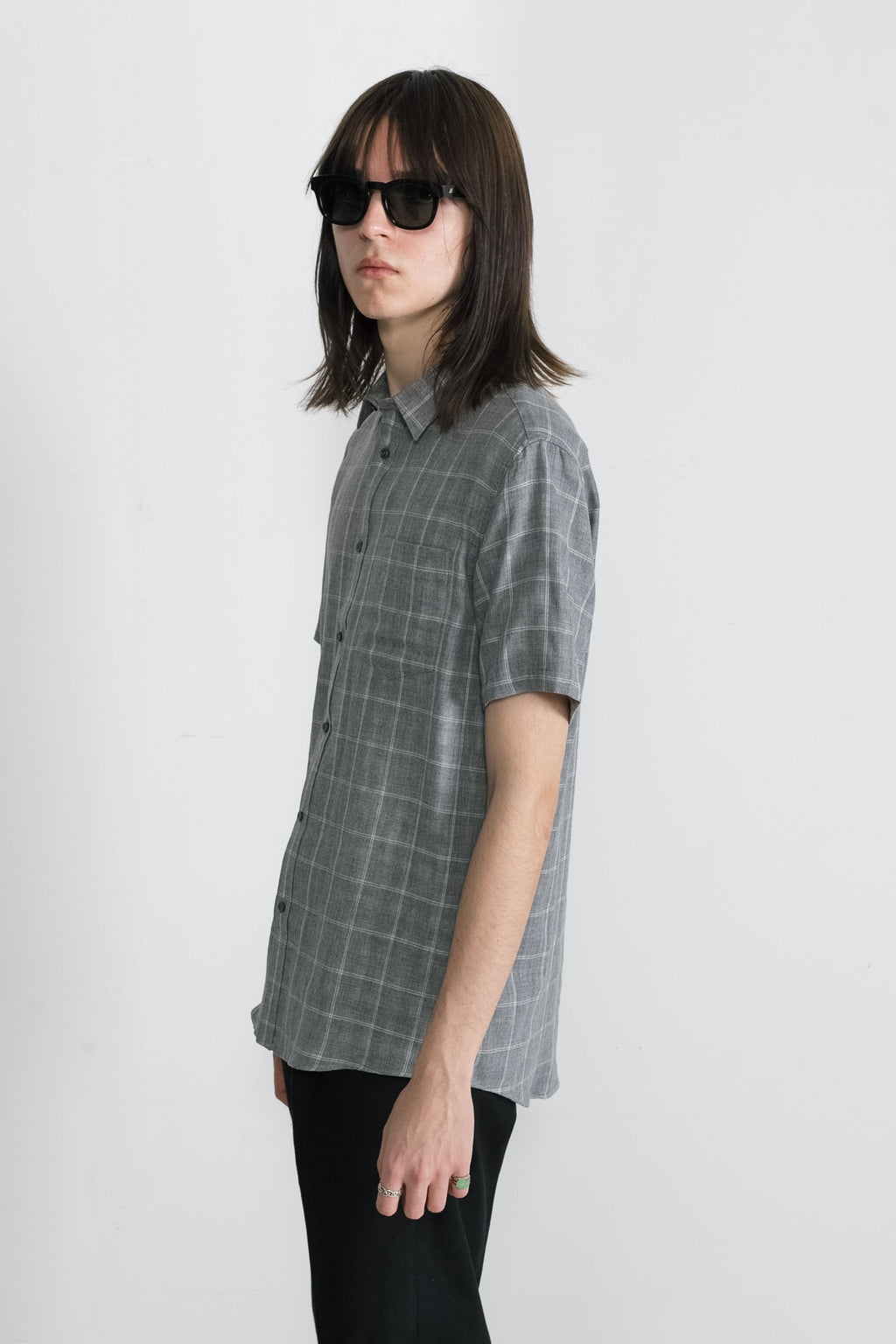 Japanese Double Face Plaid in Grey 003