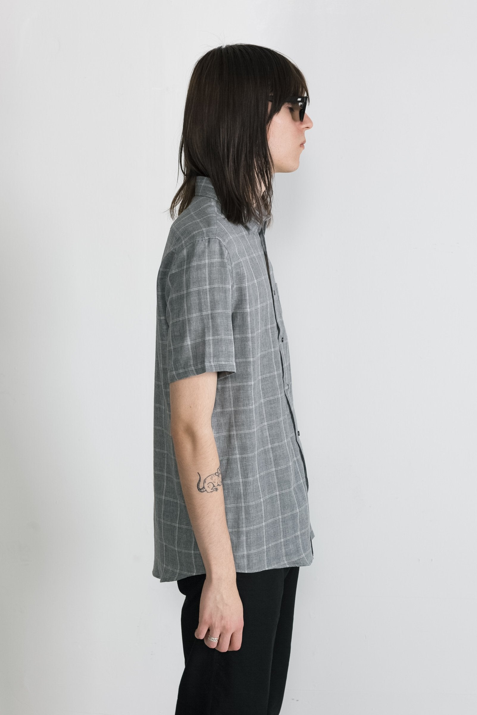 Japanese Double Face Plaid in Grey 007