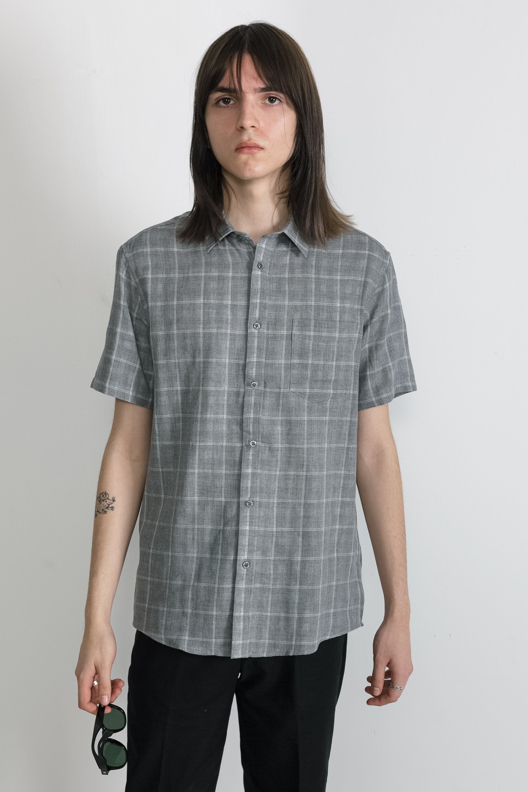 Japanese Double Face Plaid in Grey 002