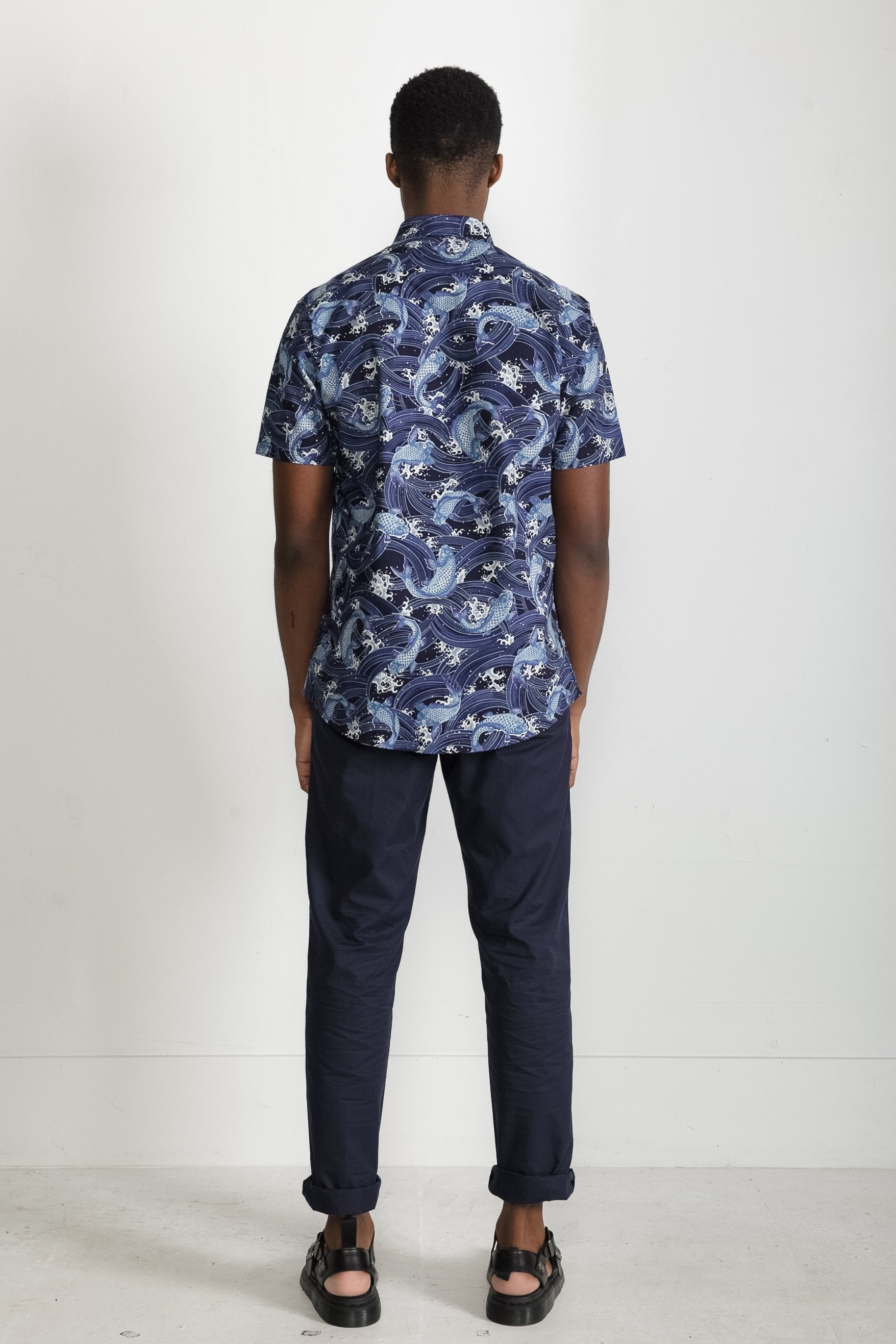 Japanese Koi Print in Navy 003