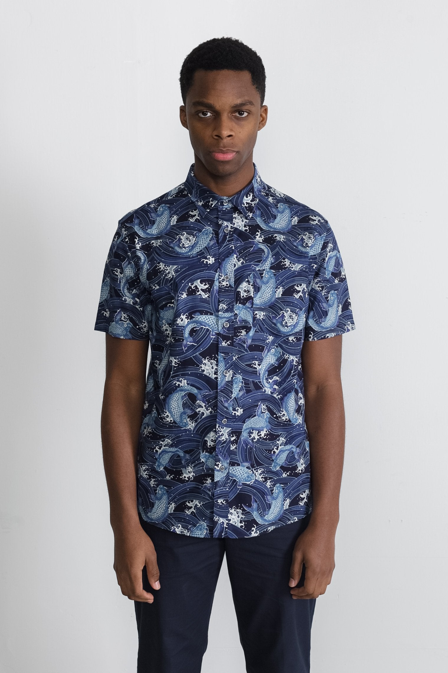 Japanese Koi Print in Navy 001