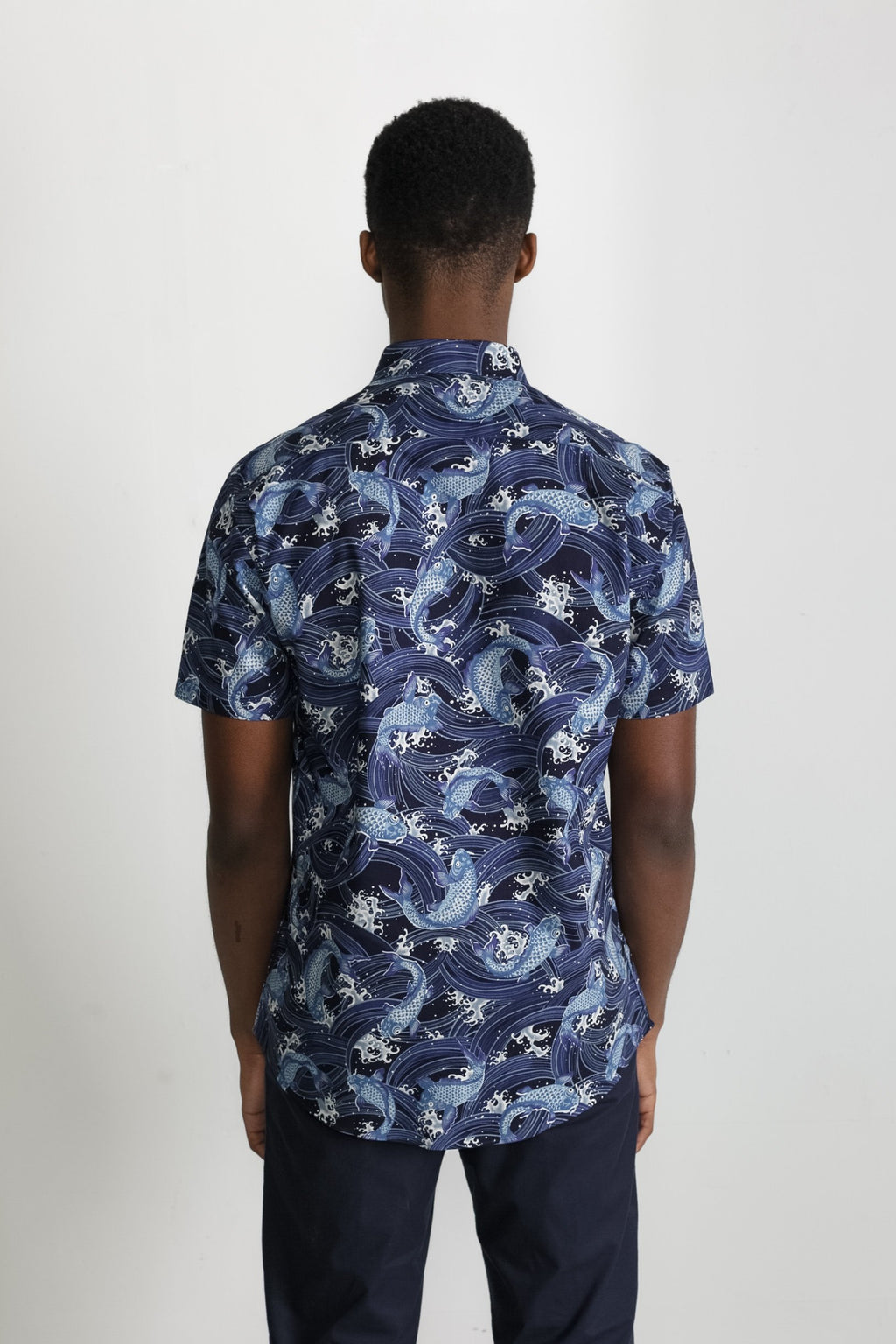 Japanese Koi Print in Navy 005