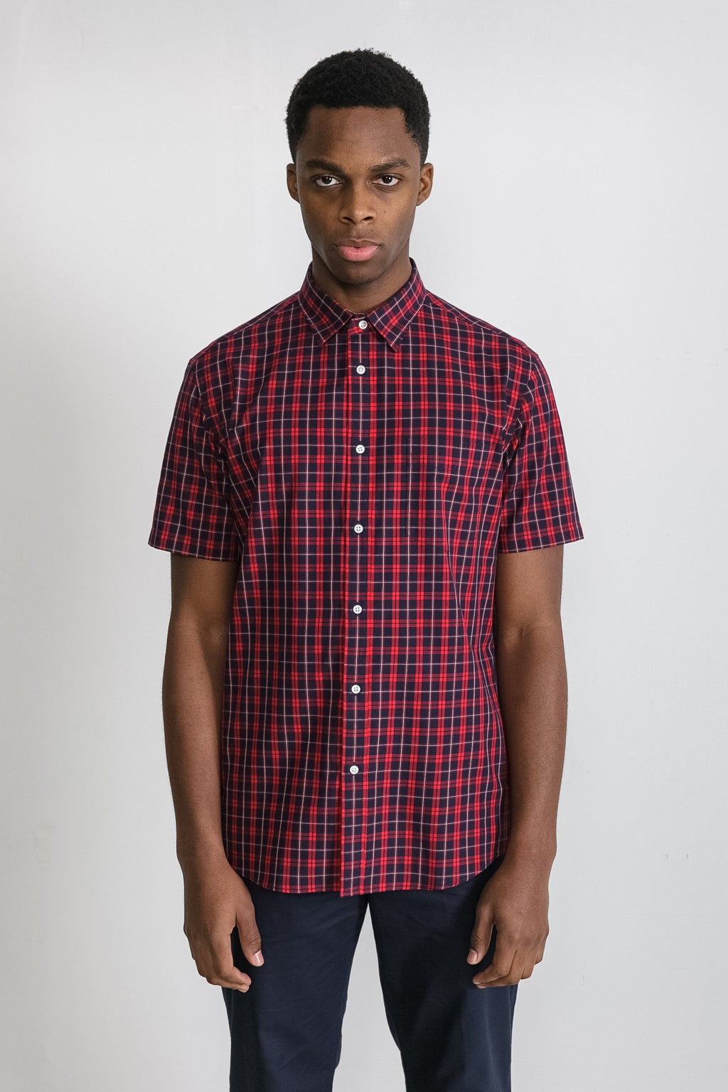 Japanese Collegiate Plaid in Navy and White 001
